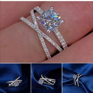 Fashion criss cross silver  blended ring